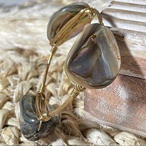 BOURBONANDBOWETIES Abalone Bangle Bracelet Gold